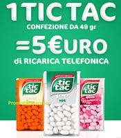 Logo Tic Tac ti regala una ricarica telefonica da 5€ come premio certo!