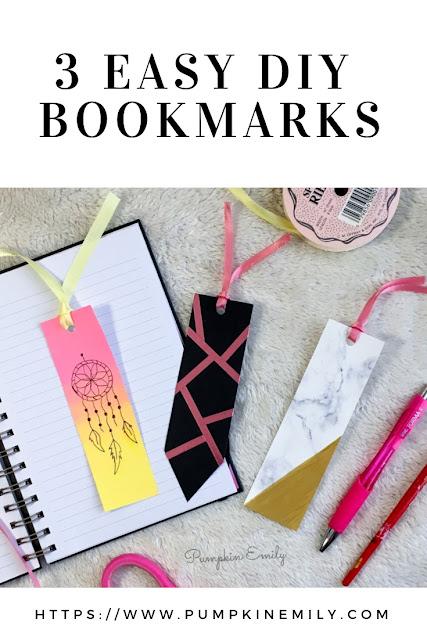 3 Easy DIY Bookmark Ideas | Pumpkin Emily