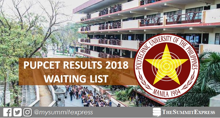 WAITING LIST: PUPCET Results AY 2018-2019