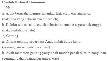Contoh Kalimat Homonim Dan Homofon Guru Bahasa Indonesia