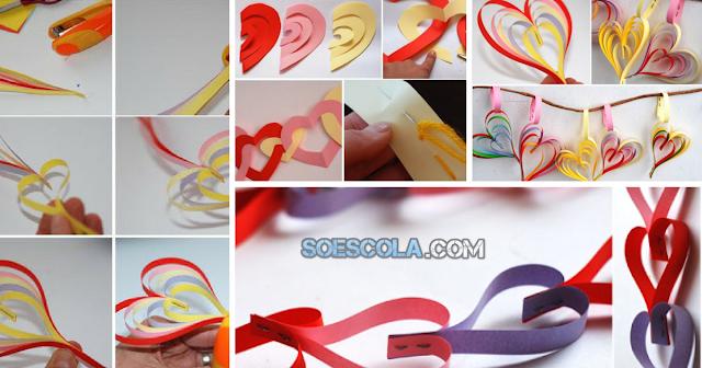 Guirlanda de Corações de papel para decoração