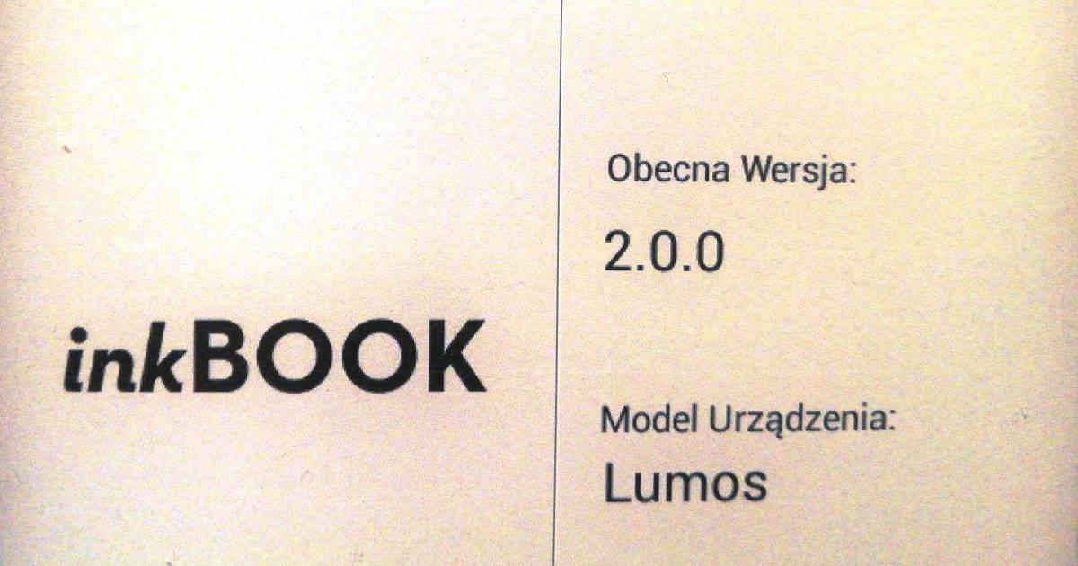 InkBOOK LUMOS - fragment ekranu z numerem wersji oprogramowania 2.0.0