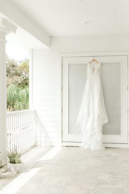 Wedding dress hanging at Arundel Estate