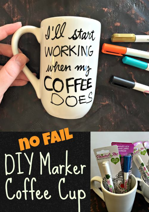 No Fail DIY Marker Coffee Cup - this uses the correct markers! PaintedByMe Markers, made for Ceramic.