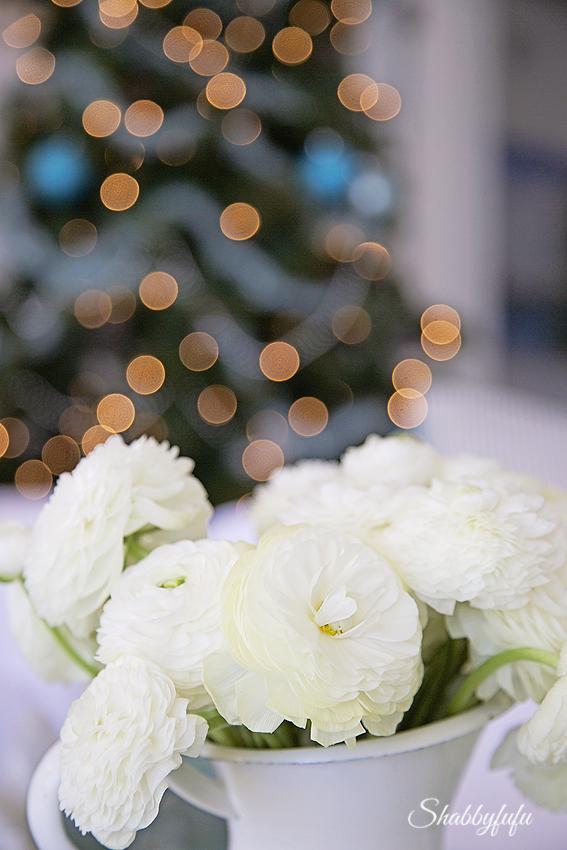 white ranunculus christmas tree