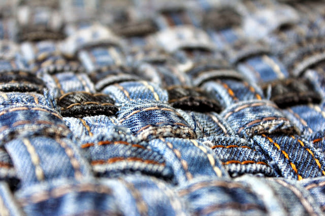 подставка, прихватка, из джинсовых строчек