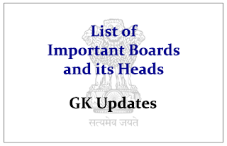 List of Important Boards and its Heads in India- GK Updates