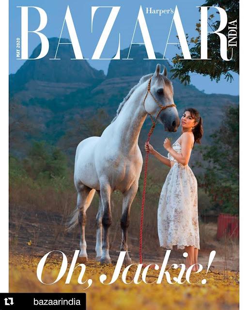 Jacqueline Fernandes Photoshoot for Digital Issue Harper Bazaar India 2020 Cover
