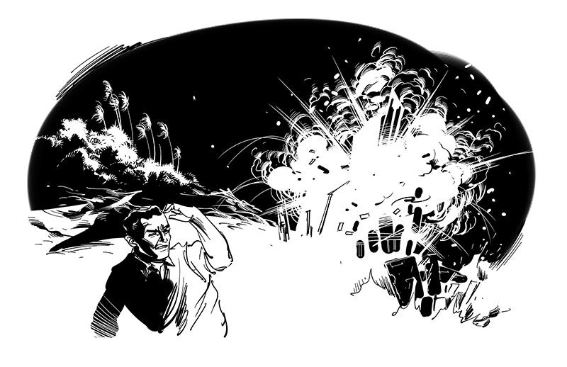 horror illustration explosion