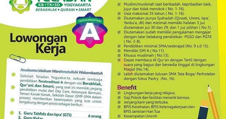 Lowongan Kerja Sekolah Teladan Yogyakarta Deadline 15 Januari 2019 Lowongan Kerja Dan Rekrutmen Bulan Juni 2021