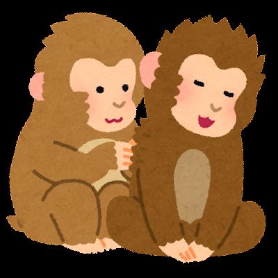 猿の毛づくろいのイラスト