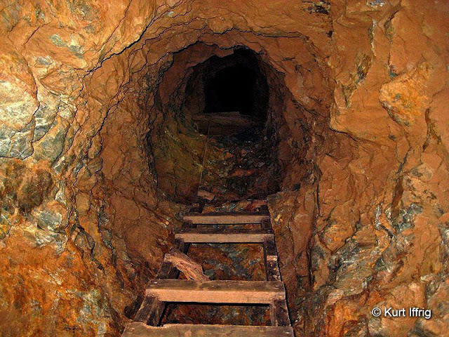 There are many shafts in Big Horn Mine leading to upper levels. This one still has a partial ladder.