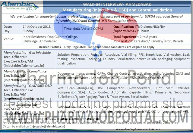 Alembic Pharmaceuticals Walk-In Interview For ITI, Diploma, B.Sc, B.A, B.Pharm, M.Sc, M.Pharm at 14 October