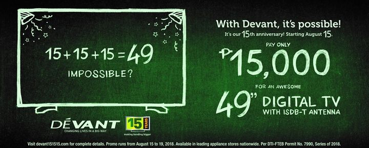Devant Celebrates 15th Anniversary with 15-15-15 Promo; 49-inch Digital TV for Only Php15,000