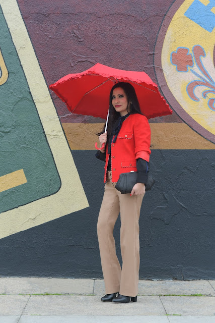 Joanna Joy A Stylish Love Story Fashion Blog fashion blogger California fashion blogger petite fashion blogger eshakti black and royal blue blouse red jacket red umbrella black zara boots Zac Posen black bag