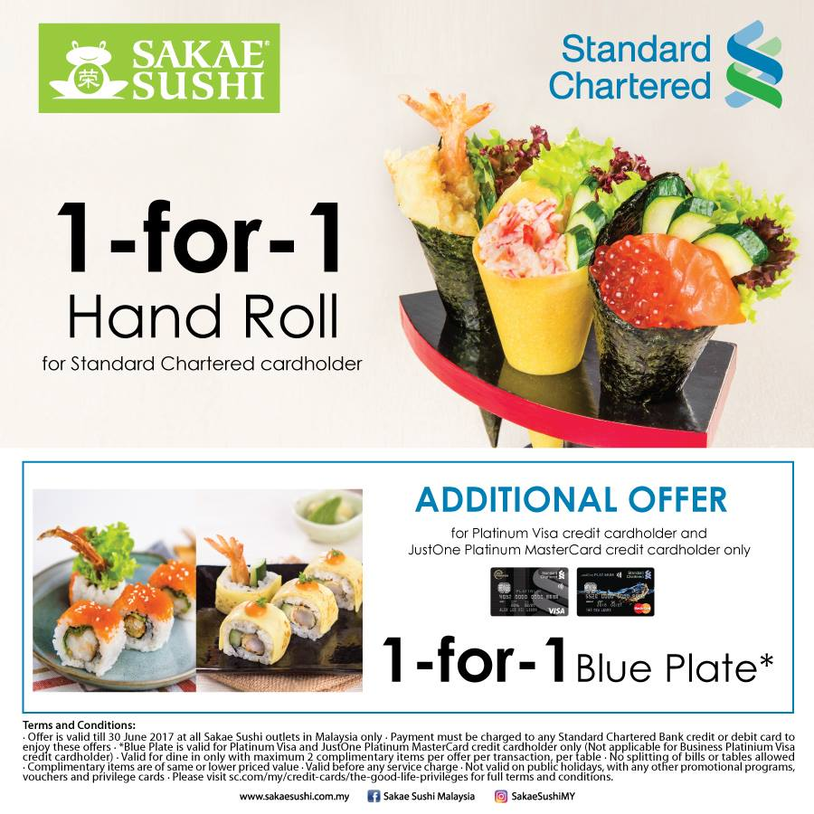 Sakae sushi 1 for 1 hand roll 1 for 1 blue plate using standard sakae sushi malaysia free hand roll standard chartered credit card promo reheart Gallery