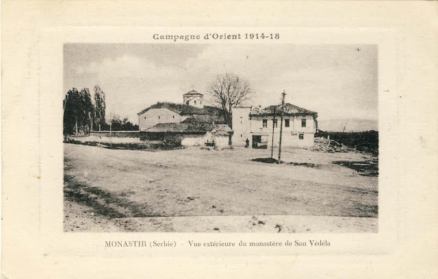 "View of the church ""Holy Sunday"" in 1917. In the foreground is the road to Prilep and the railroad has not yet been built."