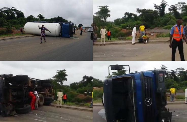Petrol tanker falls on Lagos-Ibadan Expressway, no lives lost