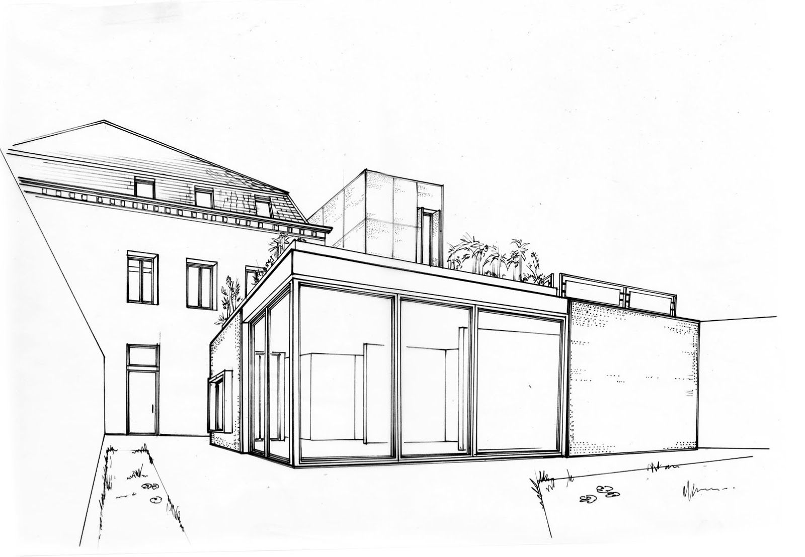 The B&W animation Stories: Architecture drawing for Atelier-24