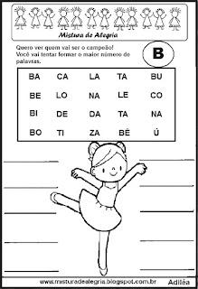 Formar palavras com a letra b