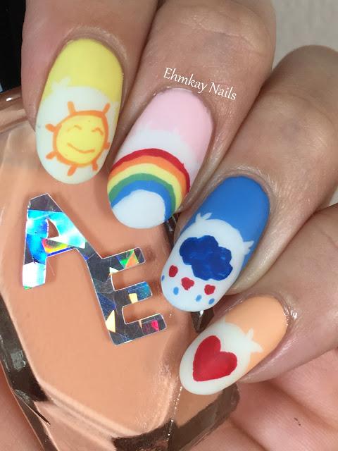 Ehmkay Nails New Year S Eve Nail Art With Kbshimmer Bling: Ehmkay Nails: 80s Nail Art: Care Bears Nail Art