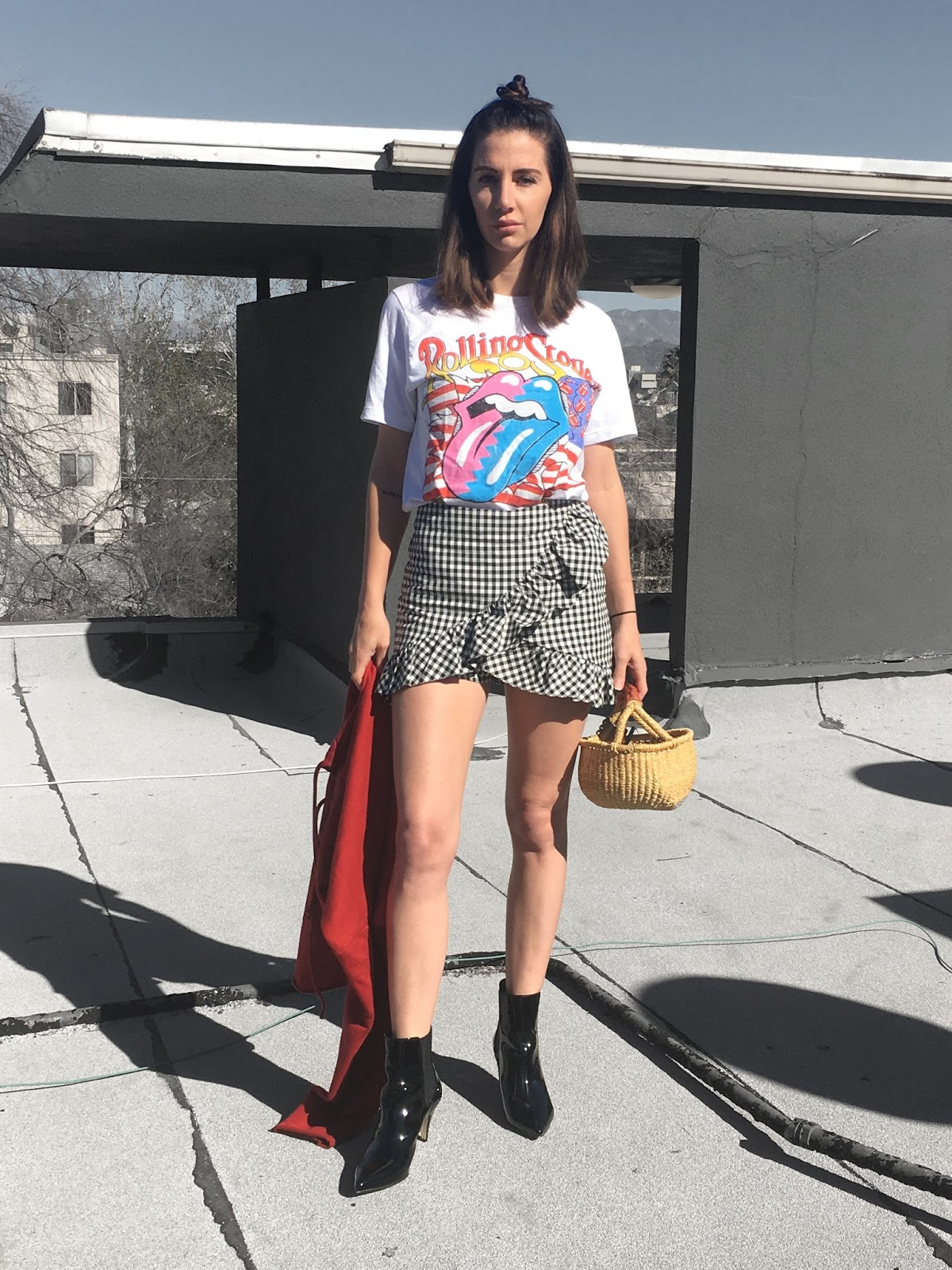 band tee, basket purse, patent boots