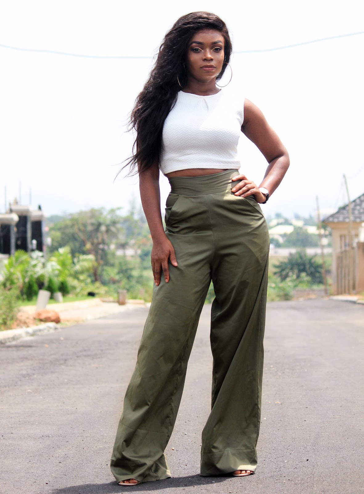 KHAKI PALAZZO PANTS -Porshher  Khaki Coloured pants with Boohoo white crop top