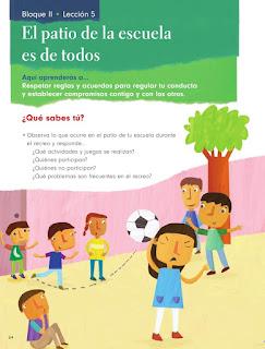 Apoyo Primaria Formación Cívica y Ética 1er grado Bloque 2 Lección 5 El patio de la escuela es de todos