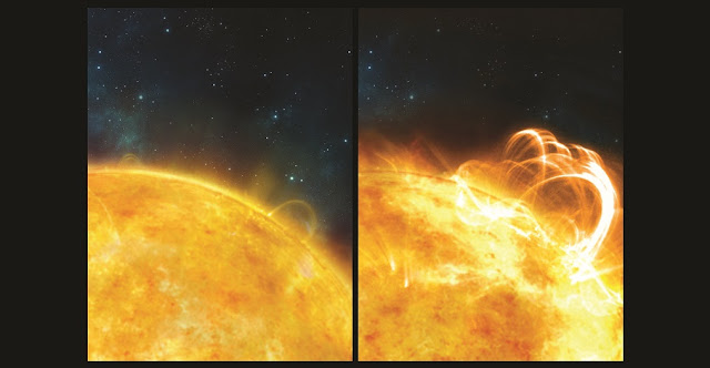 Left: artist's impression of the 'quiet' Sun, with no solar flares. Right: What the Sun might look like if it were to produce a superflare. A large flaring coronal loop structure is shown towering over a solar active region. Credit: University of Warwick/Ronald Warmington