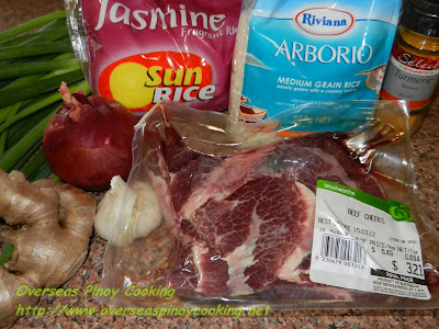 Beef Cheeks Lugaw - Ingredients