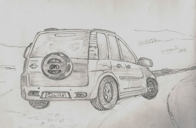 Sketch of Car subsequently painted using Watercolor