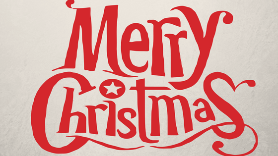 Red Merry Christmas text written on pale grey background