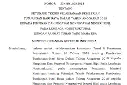 PMK No 55/PMK. 05/2018 (Tentang) Petunjuk Teknis Pelaksanaan PEMBERIAN THR 2018 KEPADA PIMPINAN & PEGAWAI NONPEGAWAI NEGERI SIPIL Pada LEMBAGA NONSTRUKTURAL