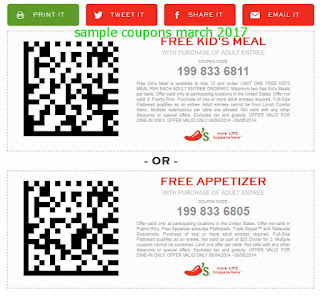 free Chili's coupons march 2017