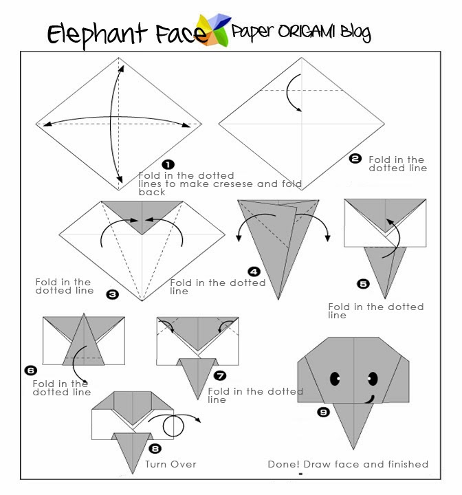 easy origami  elephant face