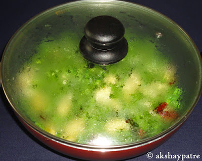 cook covered to make Farasbi batata bhaji