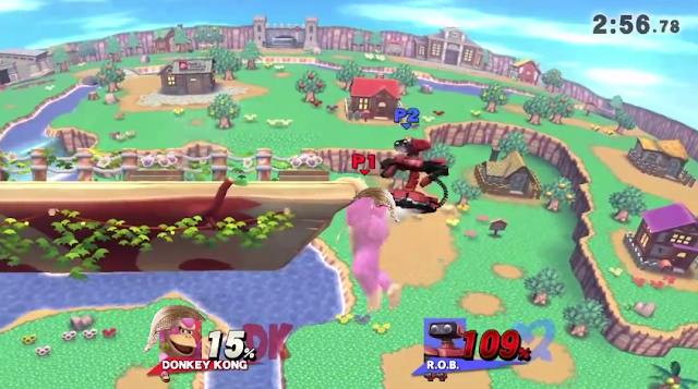 Donald Trump hair on Donkey Kong ledge Super Smash Bros. For Wii U