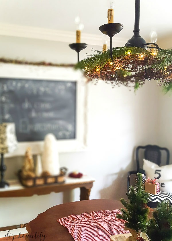 fairy lights, berry garland and greenery