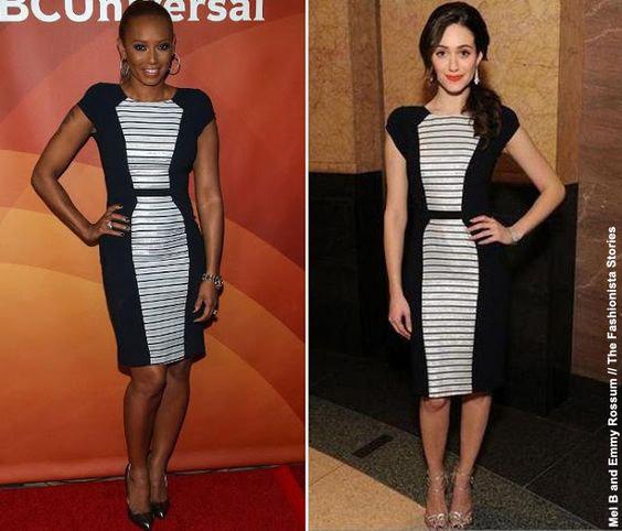 Две брюнетки в черно-белом платье
