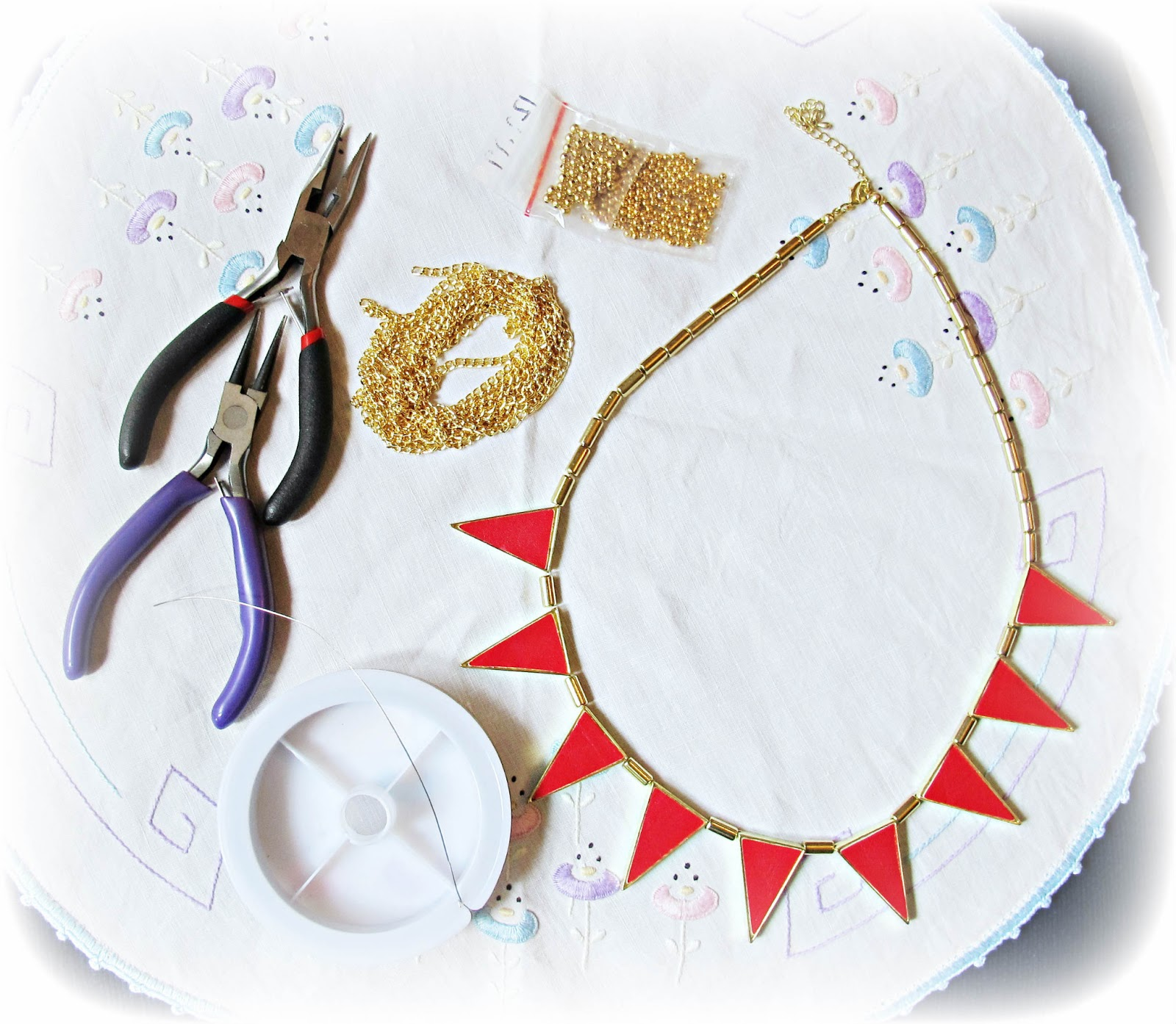 image diy tutorial necklace refashion bunting