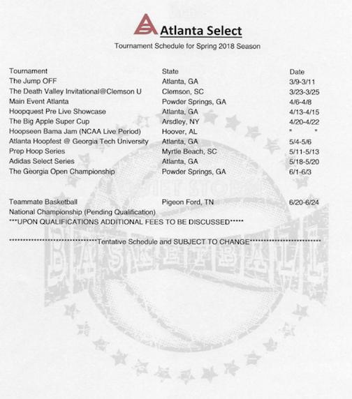 Atlanta Select: The 2018 Tentative Schedule for Atlanta