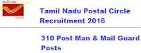 Tamil Nadu Postal Circle Recruitment 2016 – 310 Post Man & Mail Guard Posts