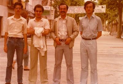 Los ajedrecistas Fèlix Romero, Fulgenci Tacón, Manuel Simón y Antoni Rifé