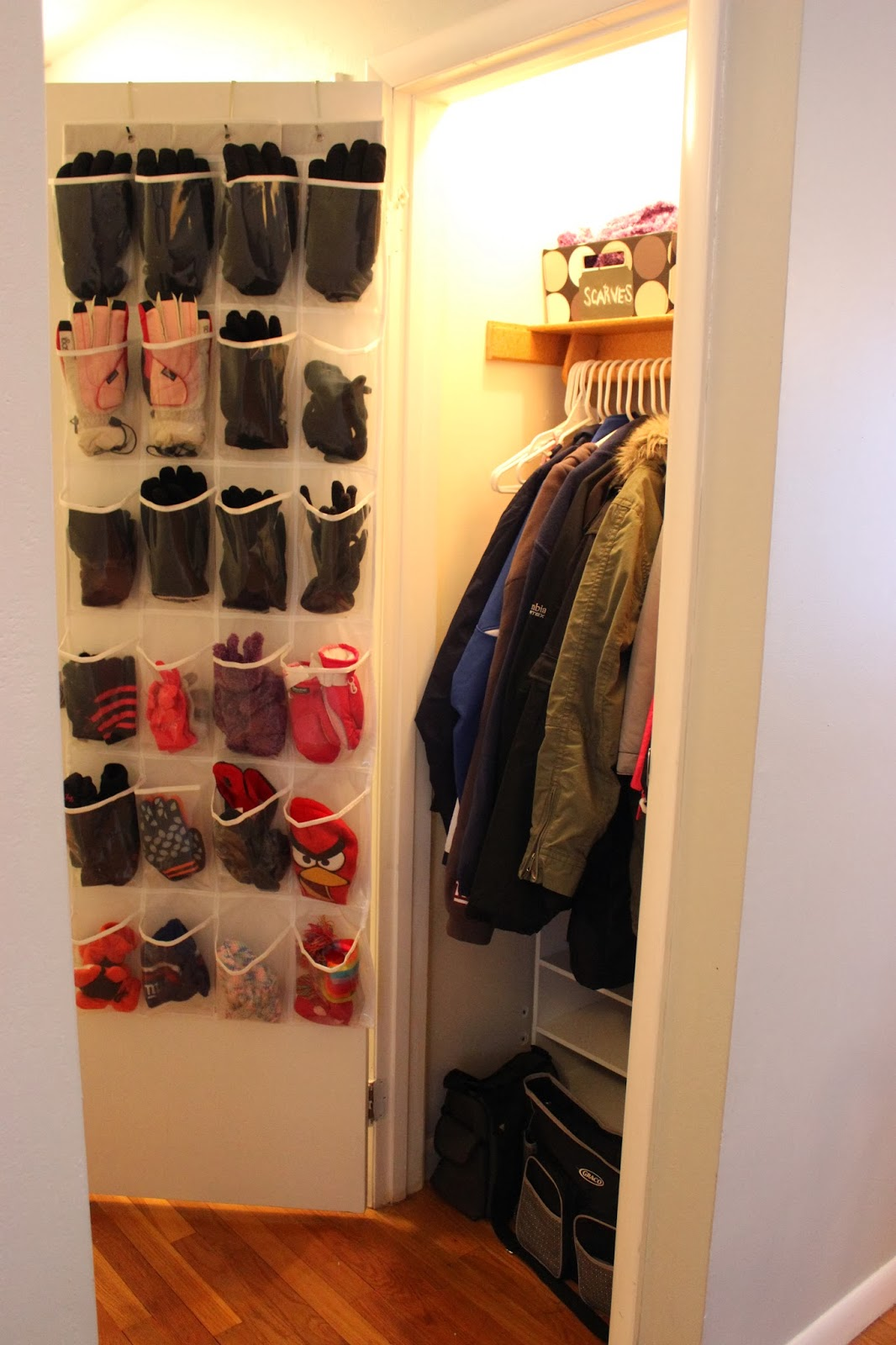 In Our Coat Closet Was An Over The Door 24 Pocket Shoe Organizer Its Where We Keep Most Often Used Gloves And Hats Prior To Buying This