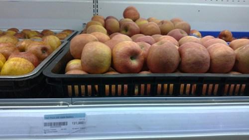 Lô táo Fuji Hàn Quốc bày bán ở siêu thị Ocean mart Phạm Ngọc Thạch  đã được nhập khẩu 6 tháng