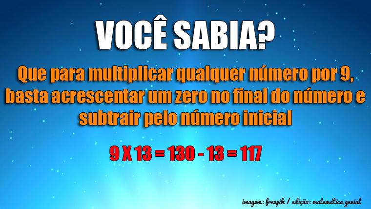 Método mágico para multiplicar qualquer número por 9