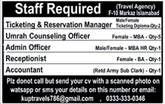 Jobs in  Travel Agency F-10 Markaz Islamabad Oct 2017