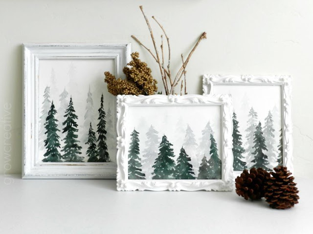 Watercolor Winter Pine Forest by Elise Engh