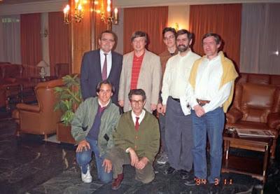 Javier Rodríguez Ibrán con Anatoli Karpov en Linares 1994