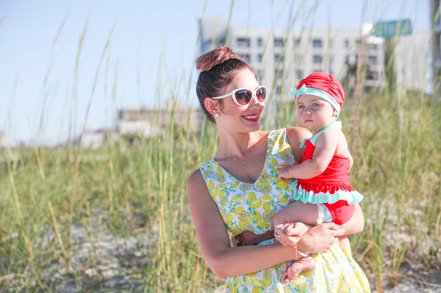Amy West and daughter London at the beach in fruit inspired fashion